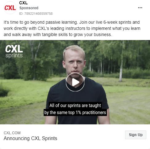 CXL - Product Launch - CXL sprints - Facebook Ad