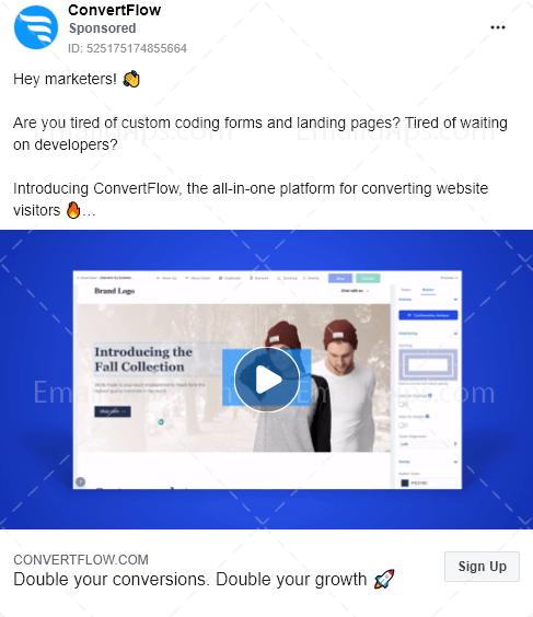 Convertflow - Free trial - Facebook Ad