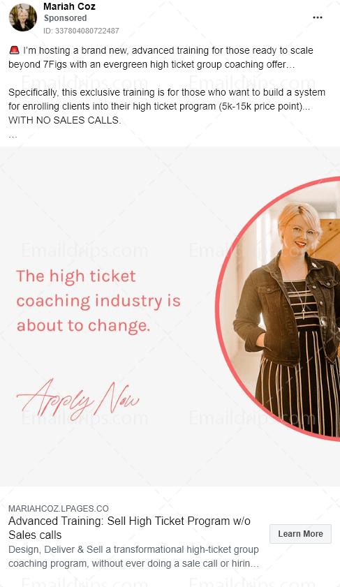 Mariah Coz – Coaching Programm – High ticket programm – Facebook Ad