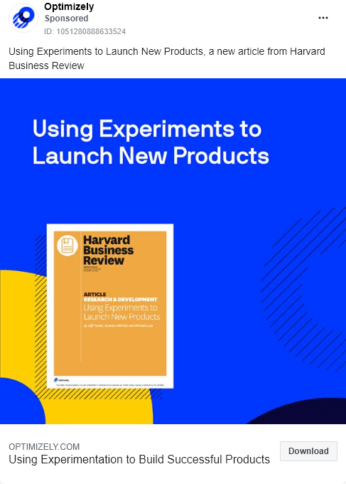 Optimizely - Gated Article - using experiments launch new products - Facebook Ad