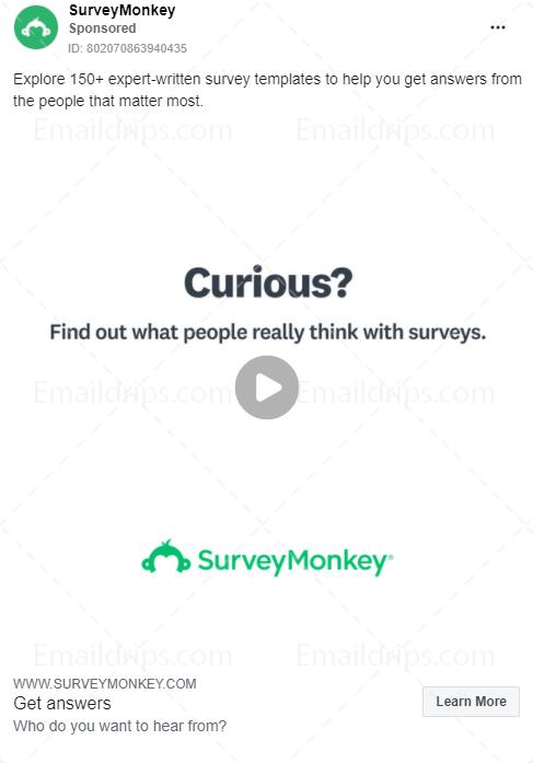 SurveyMonkey - Sign Up - Survey templates  - Facebook Ad