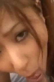 Asian schoolgirl Gia squirts, sucks