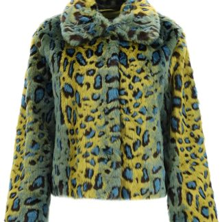 STAND MARCELLA LEOPARD ECO-FUR JACKET 34 Green, Blue, Black Faux fur