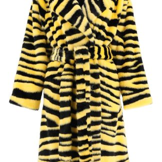 STAND CHRYSTAL ECO-FUR COAT 34 Yellow, Black Faux fur