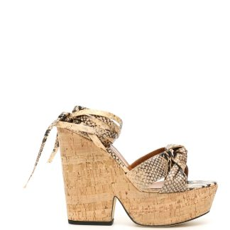 PARIS TEXAS PYTHON PRINT KNOTTED WEDGE SANDALS 36 Beige, Black Leather