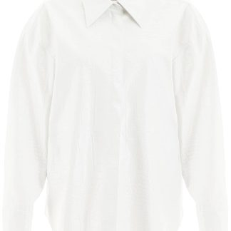MSGM CROC-PRINT FAUX LEATHER OVERSHIRT 38 White Faux leather