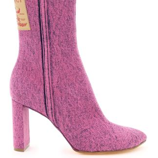 Y PROJECT POINTY PATENT ANKLE BOOTS 36 Fuchsia Cotton, Denim