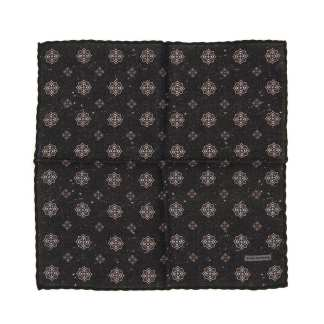 TAGLIATORE WOOL POCKET SQUARE OS Black, Grey, Red Wool