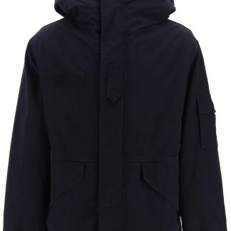 MR & MRS ITALY MIDI CURTAIN PARKA WITH REMOVABLE FUR INTERIOR S Blue Cotton, Fur