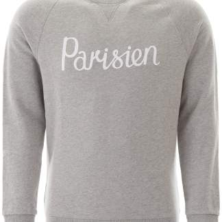 MAISON KITSUNE PARISIEN PRINT SWEATSHIRT XS Grey Cotton