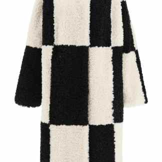 STAND NIKKI CHECKERED ECO-SHEARLING COAT 38 Black, White Faux fur
