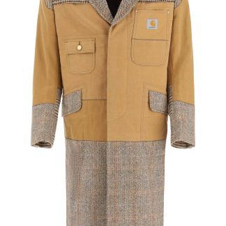 JUNYA WATANABE Patchwork coat S Brown, Beige Cotton, Wool
