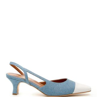 PARIS TEXAS DENIM SLINGBACKS 37 Light blue, White Leather, Cotton