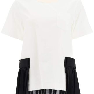 SACAI TOP WITH PLEATED INSERTS 1 White, Black, Beige Cotton