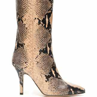 PARIS TEXAS PYTHON-PRINT BOOTS 37 Beige, Black Leather
