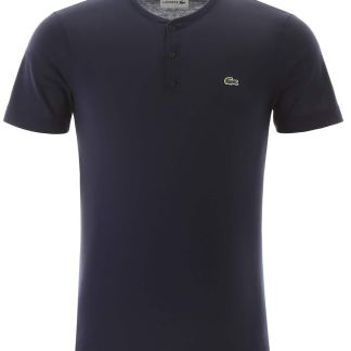 LACOSTE HENLEY T-SHIRT WITH LOGO PATCH 5 Blue Cotton