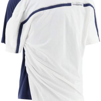 Y PROJECT TWO-TONE T-SHIRT S White, Blue Cotton