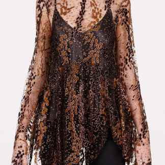 OPENING CEREMONY TULLE TOP 4 Brown, Metallic