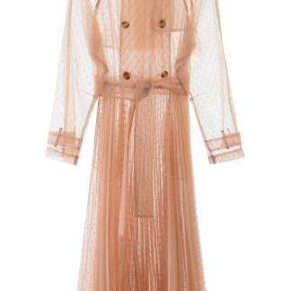 RED VALENTINO PLUMETIS TULLE LONG TRENCH 38 Beige