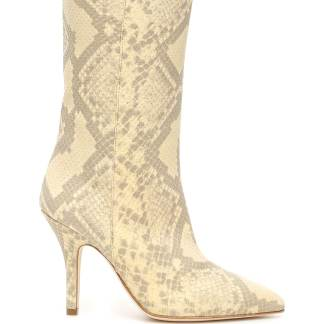 PARIS TEXAS PYTHON-PRINT BOOTS 37 Beige, Yellow Leather