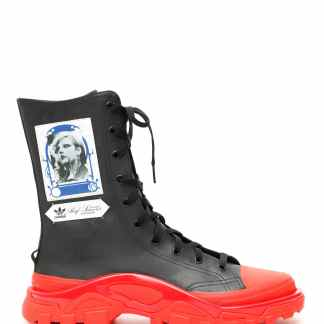 ADIDAS BY RAF SIMONS UNISEX DETROIT HIGH SNEAKERS 7,5 Black, Red