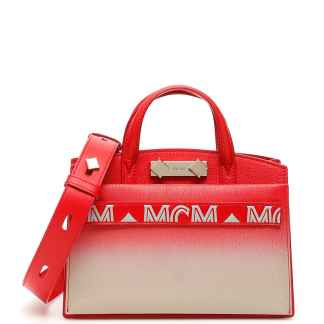 MCM MILANO MINI TOTE BAG OS Red, Beige Leather