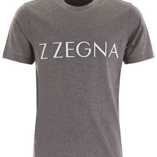Z ZEGNA LOGO T-SHIRT S Grey, White Cotton