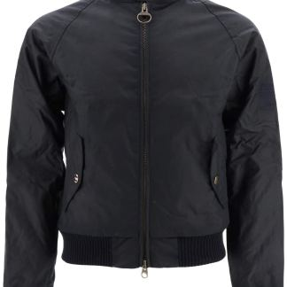 BARBOUR INTERNATIONAL MERCHANT BOMBER JACKET IN COATED COTTON M Blue Cotton