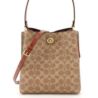 COACH 0 OS Brown, Beige Leather, Cotton