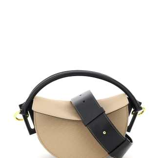 YUZEFI DIP LEATHER AND CANVAS BAG OS Beige, Black Leather, Cotton