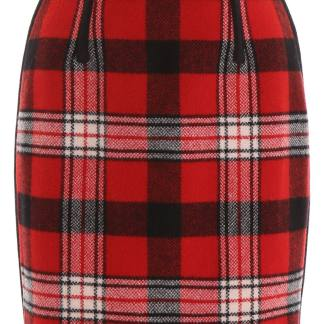 DSQUARED2 TARTAN MINI SKIRT 38 Red, Black, White Wool