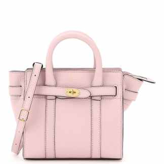 MULBERRY MICRO ZIPPED BAYSWATER HANDBAG OS Pink Leather