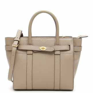 MULBERRY ZIPPED BAYSWATER MINI BAG OS Grey, Beige Leather
