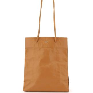 MEDEA TALL BUSTED BAG OS Beige, Brown Leather