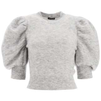 WANDERING SWEATER WITH BALLOON SLEEVES S Grey Wool