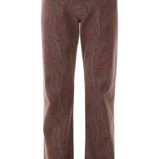 ETRO PAISLEY JEANS 31 Red, Green, Brown Cotton, Denim