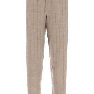 WANDERING PINSTRIPE TROUSERS 42 Brown, Grey Wool