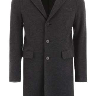 HARRIS WHARF LONDON CLASSIC COAT 52 Grey Wool, Cashmere