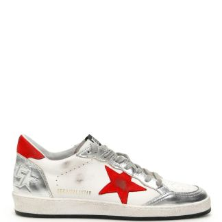 GOLDEN GOOSE BALL STAR SNEAKERS 45 White, Silver, Red Leather