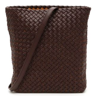 BOTTEGA VENETA INTRECCIO BUCKET BAG OS Brown, Beige Leather