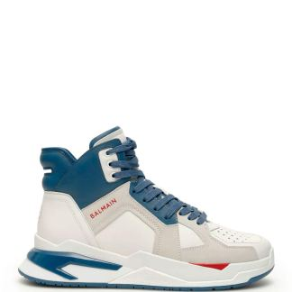 BALMAIN B BALL SNEAKERS 39 White, Blue, Red Leather