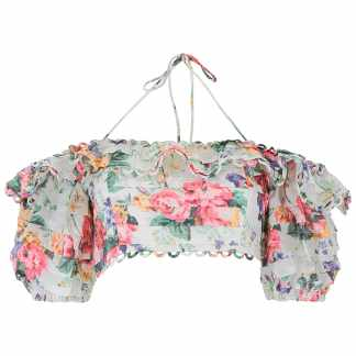 ZIMMERMANN FLORAL PRINTED CROP TOP 2 White, Red, Green Linen
