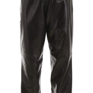 BURBERRY LEATHER JOGGERS S Black Leather