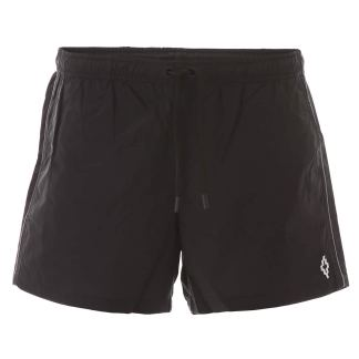 MARCELO BURLON SWIM TRUNKS WITH PIPING S Black