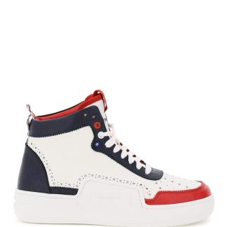 THOM BROWNE BASKETBALL HI-TOP TRICOLOUR SNEAKERS 9 White, Blue, Red Leather