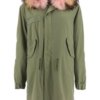 MR & MRS ITALY ARMY COYOTE FUR LONG PARKA JACKET M Green Cotton, Leather, Fur