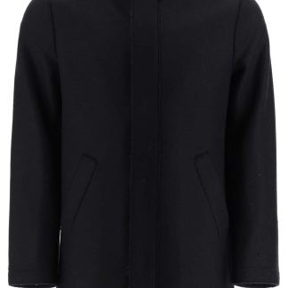 HARRIS WHARF LONDON HOODED WOOL PARKA 52 Black Wool