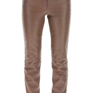 SAKS POTTS ROSITA TROUSERS IN MONOGRAM LEATHER 1 Brown Leather