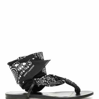 SAINT LAURENT NU PIED DALLAS SANDALS 35 Black, White Leather, Cotton
