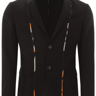 FENDI KALEIDO PIPING BLAZER 48 Black Wool